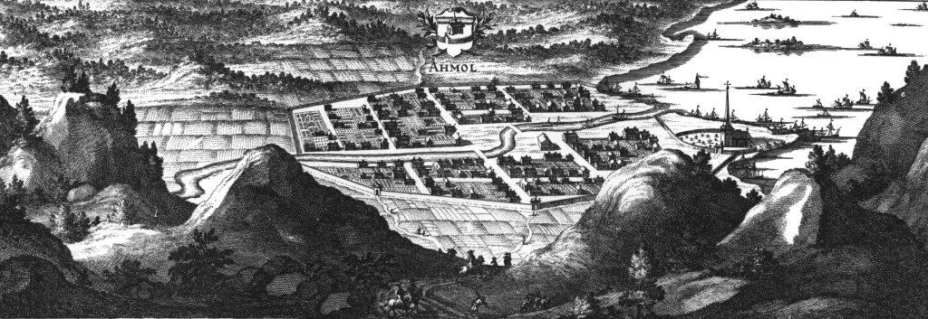 Povijesna gravura grada Åmåla, 1690-1710. Fotografija: Wikipedia